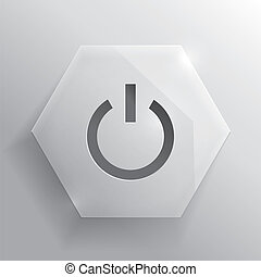 Glass button. Power button. Vector illustration.