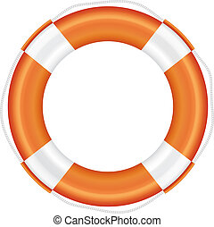 Orange lifebuoy with white stripes and rope. - Orange...