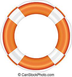 Orange lifebuoy with white stripes and rope. - Orange...