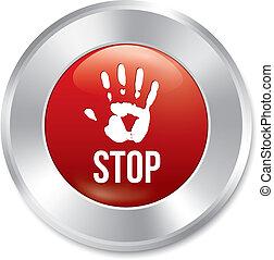 Hand stop button. Age limit red round sticker.