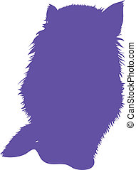 Blue silhouette of cat. Vector