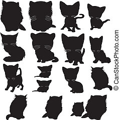Vector illustration of various cats