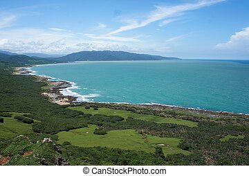 A sunny day in Kenting Taiwan, with blue sky and ocean