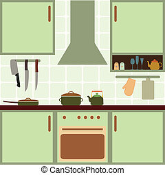 Vector kitchen - Vector illustration of kitchen