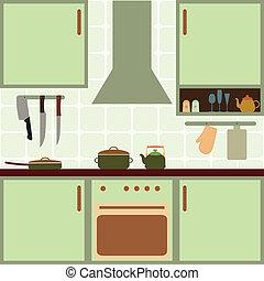 Vector kitchen - Vector illustration of kitchen