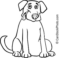 labrador retriever cartoon for coloring book - Black and...