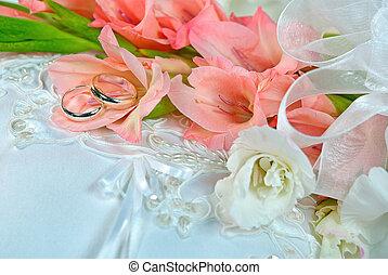 gladiola, boda, ramo, anillos