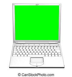 Illustration of an open laptop computer - An illustration of...