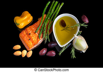 Mediterranean omega-3 diet Fish steak, olives, nuts and...
