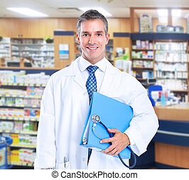 Pharmacist - Smiling family doctor with stethoscope Health...