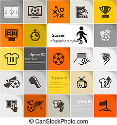 Soccer icon set vector abstract background