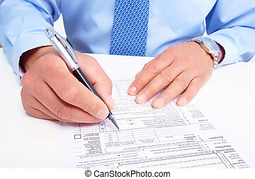 Businessman working with documents - Writing businessman...
