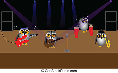 Rock Band of Owls - Illustration of four owls on stage...