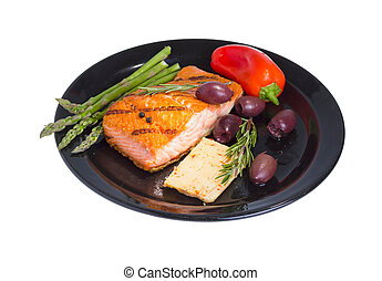 Mediterranean omega-3 diet. - Grilled salmon steak on plate...