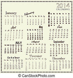Calendar 2014, Vector illustration