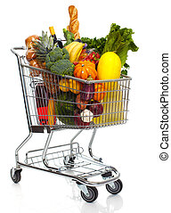 Full grocery cart - Full shopping grocery cart Isolated on...