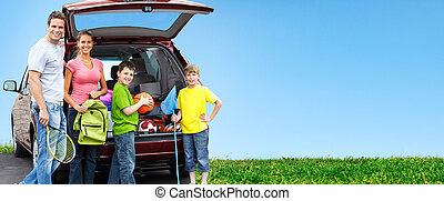 Happy family near new car Camping concept background