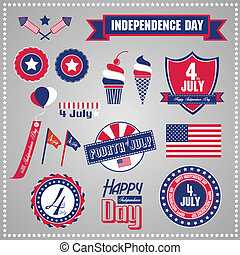Independence Day, July 4 - Set of design elements for...