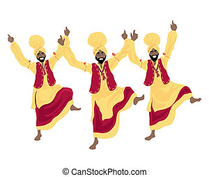 bhangra dance - an illustration of three punjabi men...
