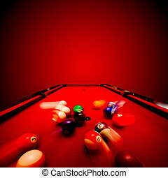 Billards pool game. Breaking the color ball from triangle....