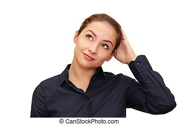 Business smiling woman thinking about looking up isolated on...