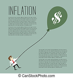 Inflation, Businessman pulling a dollar sign balloon