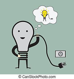 Bulb man with idea man