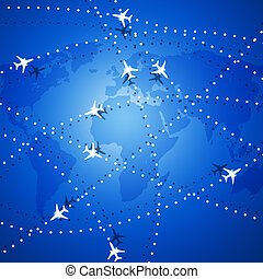 Flying Airplanes Over the Map - aviation background with...