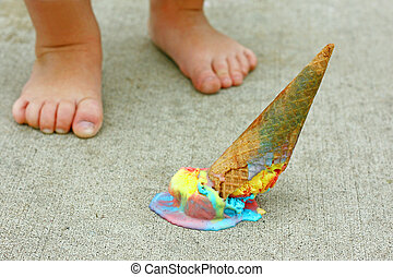 Dropped Ice Cream Cone by Child's Feet - a dropped rainbow...