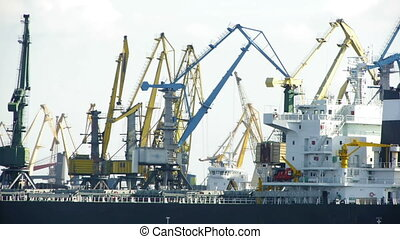 HD - Port Activity. Cranes and cargo ship