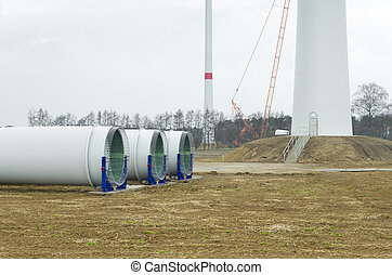 new windturbine - building up a new windturbine park