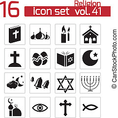 Icon_pattern - Vector black religion icons set