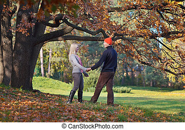 Couple relaxing in the park - Happy couple relaxing in...