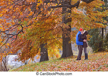Couple in autumn park - Couple kissing in autumn park on a...