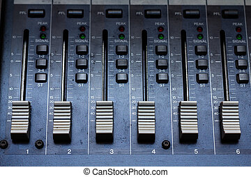 Audio mixer - Audio mixing console in a recording studio....