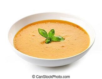 manjericão, sopa, tigela,  squash