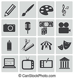 vector, negro, arte, iconos, Conjunto