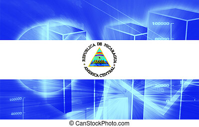 Flag of Nicaragua, national country symbol illustration