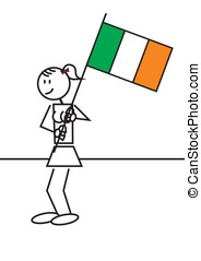 Stick figure ireland flag - illustration of a girl with a...