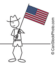 Stick figure USA flag - illustration of a boy with a flag of...