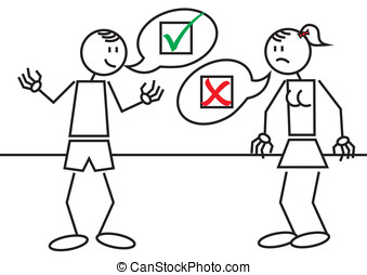 stick figures accepted rejected - Vector illustration of a...