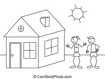 Stick figures house - Illustration of a happy couple with a...