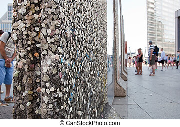 Parts of Berlin Wall on Potsdamer Platz Berlin, Germany -...