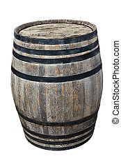 old barrel wine - Old wooden barrel wine with iron rings and...