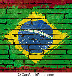 Grunged Brazilian Flag over a brick wall background...