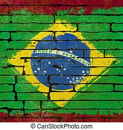 Grunged, Brasileiro, bandeira, sobre, tijolo, parede, fundo,...