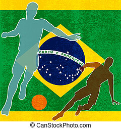 Brazil 2014, Brazilian flag vector illustration for an international football / soccer championship