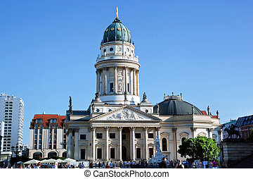 The Gendarmenmarkt. German Cathedral in Berlin, sunny blue...