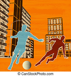 Street Football, vector background with two soccer players in an urban environment