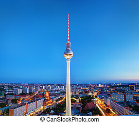 Tv tower or Fersehturm in Berlin, Germany at night